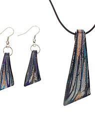 Blades Shape Coloured Glaze Earrings Necklace Jewelry Set