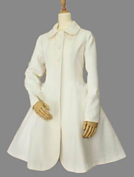 Long Sleeve Knee-length White Velvet Princess Lolita Coat