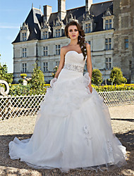 Lanting Ball Gown Plus Sizes Wedding Dress - Ivory Chapel Train Sweetheart Organza