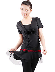 Dancewear Polyester With Sequined Latin Top and Culottes 2 Pieces Set for Ladies