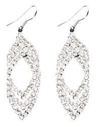 Argent eau Pendants d'oreilles diamant de forme