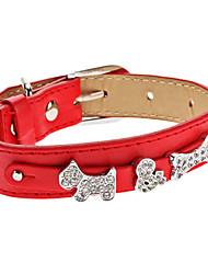 Dog Collar Rhinestone Red PU Leather