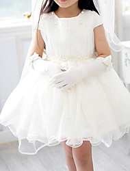 A-Line Short / Mini Flower Girl Dress - Chiffon Tulle Short Sleeves Jewel Neck with Pearl