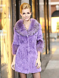 Gorgeous 3/4 Sleeve Raccoon Fur Collar Rabbit Fur Evening/ Career Coat (More Colors)