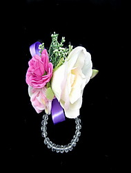 Lovely Satin/Cotton With Crystal Free-form Wedding Wrist Corsage