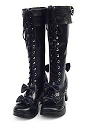 Lolita Shoes Sweet Lolita Handmade Flat Heel High Heel Shoes Solid 3 CM For PU Leather/Polyurethane Leather Polyurethane Leather