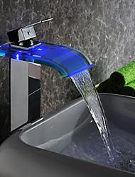 Contemporânea Cachoeira LED Hidrelétrica de vidro torneira pia do banheiro acabamento cromado (alto)