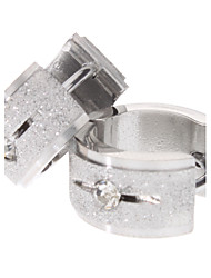 Single Diamond Shot Blasting Stainless Steel Earrings