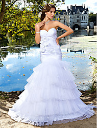 Trumpet/Mermaid Wedding Dress - Ivory Floor-length Sweetheart Satin/Organza