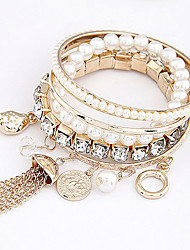Women's Basic Pearl Gem Layered Bracelet