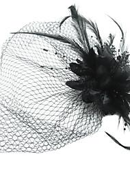 Women's Satin/Feather/Tulle Headpiece - Special Occasion Fascinators/Birdcage Veils