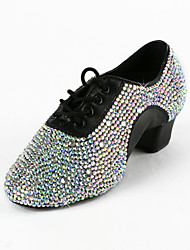 Non Customizable Kids'/Men's Dance Shoes Latin/Ballroom/Performance/Practice Shoes Leatherette Low Heel Black