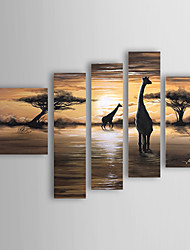 Hand-Painted Landscape Five Panels Canvas Oil Painting For Home Decoration