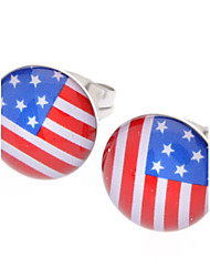 Stud Earrings Stainless Steel Rhinestone Alloy USA Flag Jewelry Daily