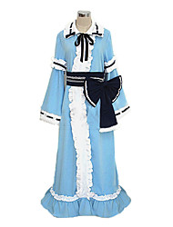 Inspired by TouHou Project Yuyuko Saigyouji Video Game Cosplay Costumes Cosplay Suits / Kimono Patchwork Blue Long SleeveDress / Hat /