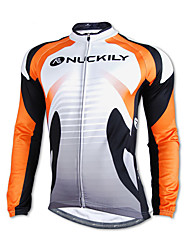 NUCKILY-100% Polyester Long-Sleeve Cycling Jersey with Fleece Side (Orange)