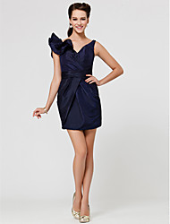 Short / Mini Taffeta Bridesmaid Dress - Little Black Dress Sheath / Column V-neck Plus Size / Petite withRuffles / Sash / Ribbon / Criss