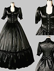Half-Sleeve Floor-length Black Satin Aristocrat Lolita Dress