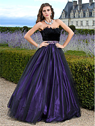 A-Line Ball Gown Princess Strapless Floor Length Tulle Prom Quinceanera Dress with Beading by TS Couture®