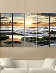 Modern Scenic Wall Clock in Canvas 5pcs K0108