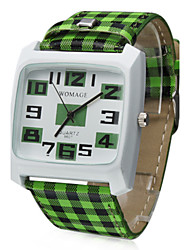 Unisex Green Lattice Style PU Band Quartz Analog Wrist Watch Cool Watches Unique Watches
