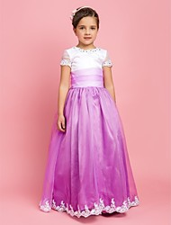 A-line Princess Floor-length Flower Girl Dress - Organza Jewel with Appliques Beading Draping