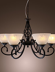 Iron Chandelier with 6 Lights in Antique Style - Upward