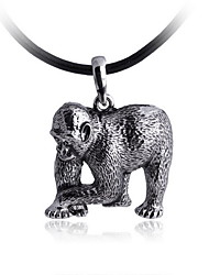 Homens é o colar da liga de prata do gorila com cordão de couro