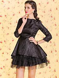 TS VINTAGE Jacquard Mesh Design Self Petticoat Dress