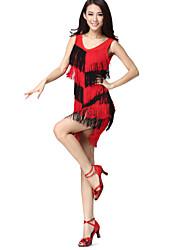 Dança Latina Vestidos Mulheres Actuação Náilon Chinês / Elastano Borla(s) Sem Mangas Natural