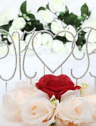 Decorações de Bolo Não-personalizado Monograma / Corações Aniversário / Casamento / Despedida de Solteira / Festa de 16 Anos Strass Prata