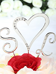 Cake Topper Non-personalized Monogram / Hearts Wedding / Bridal Shower / Quinceañera & Sweet Sixteen / Anniversary Rhinestone Silver