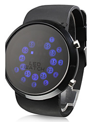 Men's Watch Blue LED Roll Ball Style Display Silicone Strap Cool Watch Unique Watch