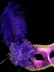 Pluma clásica y púrpura de la flor Máscara de vacaciones en PVC de media cara