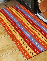 ELAINE 100% Cotton Carpet Patterned with Colorful Stripe (90*150cm,Red)