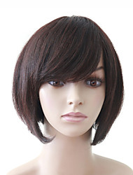 Capless Short Brown Hot Sale Wavy 100% Human Hair Wigs