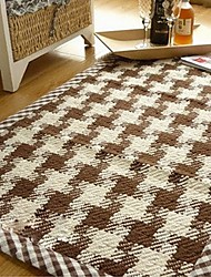 ELAINE Cotton Rug Patterned with Plaid (50*80cm,Coffee)