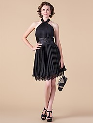 A-line High Neck Knee-length Chiffon Mother of the Bride Dress