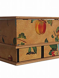 Antique European Style Fruit Pattern Multifunction Wooden Tissue Storage Box