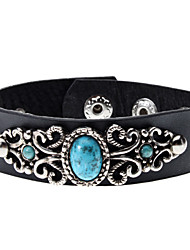 Metal Lace Turquoise Leather Bracelet