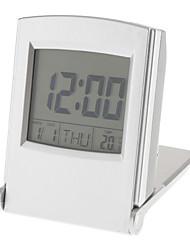 flip-up digital de alarme relógio calendário termômetro (prata, 2xAAA)