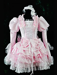 Long Sleeve Knee-length Pink Satin Sweet Lolita Dress