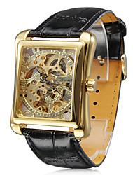 reloj automático mecánico esfera de oro cuadrado grabado hueco de los hombres