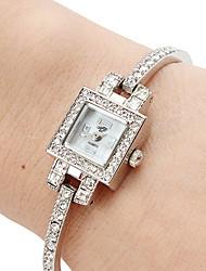 Mulheres Relógio de Moda Quartz Banda Bracelete Prata marca-