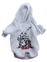 Dog Hoodie Gray Dog Clothes Winter Letter & Number