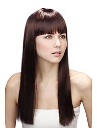 Capless Long Chocolate Brown Straight High Quality Synthetic Wigs