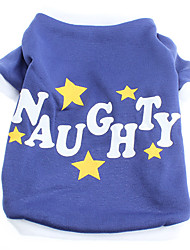 Dog Shirt / T-Shirt Blue Dog Clothes Spring/Fall Letter & Number / Stars
