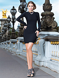 Mantel / Spalte Juwel kurz / Mini Faddish Bandage Dress