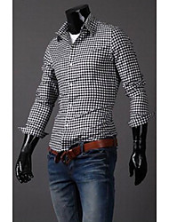 RR BUY Check Personality Pocket Long Sleeve Slim Shirt