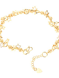 Dull Polish Bead Pentagram Gold-plated Anklet